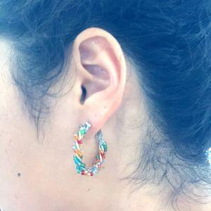 Rainbow beaded hoop earrings
